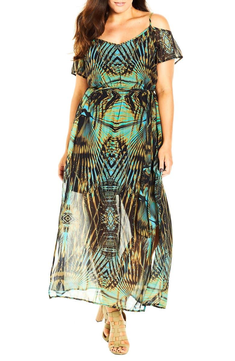 \'Super Palm\' Print Cold Shoulder Maxi Dress