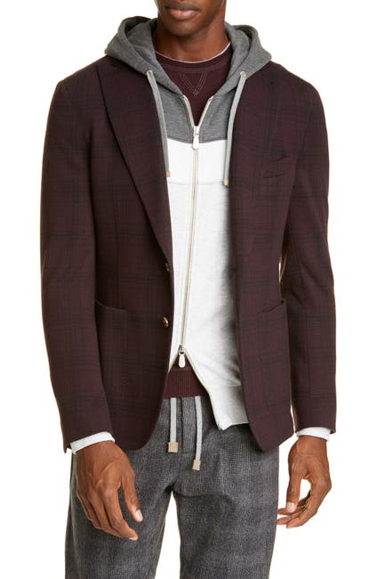 Image of ELEVENTY Trim Fit Plaid Cotton Blend Sport Coat