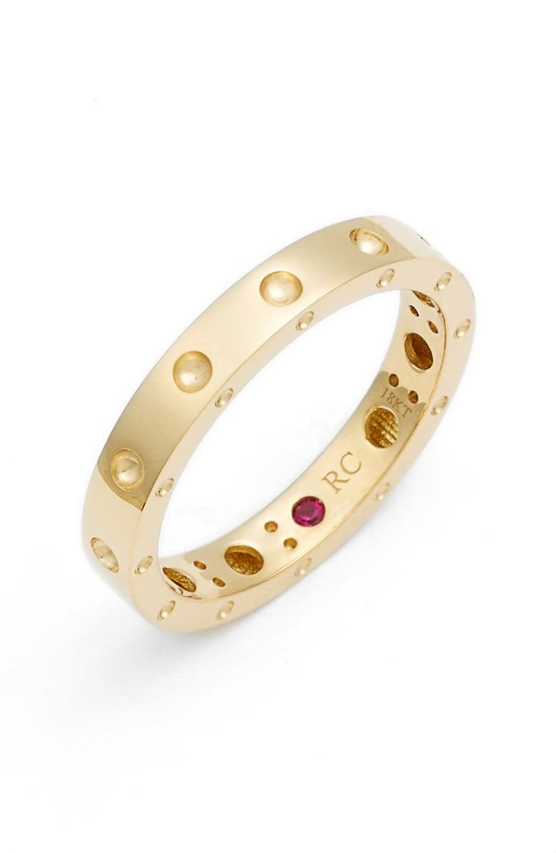 ROBERTO COIN 'Symphony - Pois Moi' Ruby Band Ring, Main, color, YELLOW GOLD