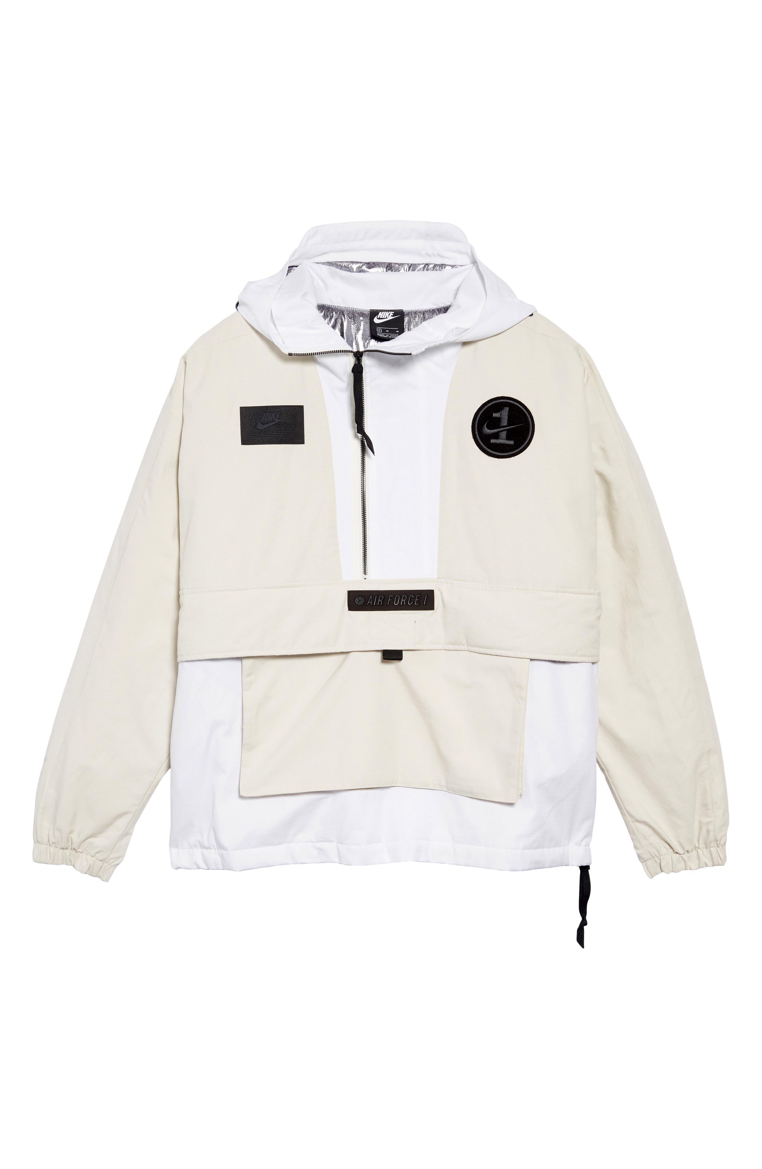 ,                             Sportswear AF1 Hooded Jacket,                             Alternate thumbnail 7, color,                             LT OREWOOD BRN/ BLACK
