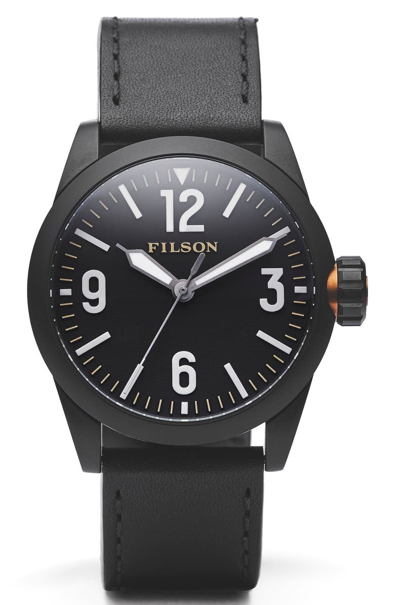 FILSON Field Leather Strap Watch, 41mm, Main, color, 001