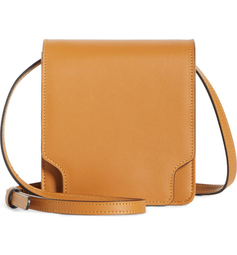 MARGE SHERWOOD Pump Slim Leather Convertible Crossbody Belt Bag, Main, color, TAN PLAIN