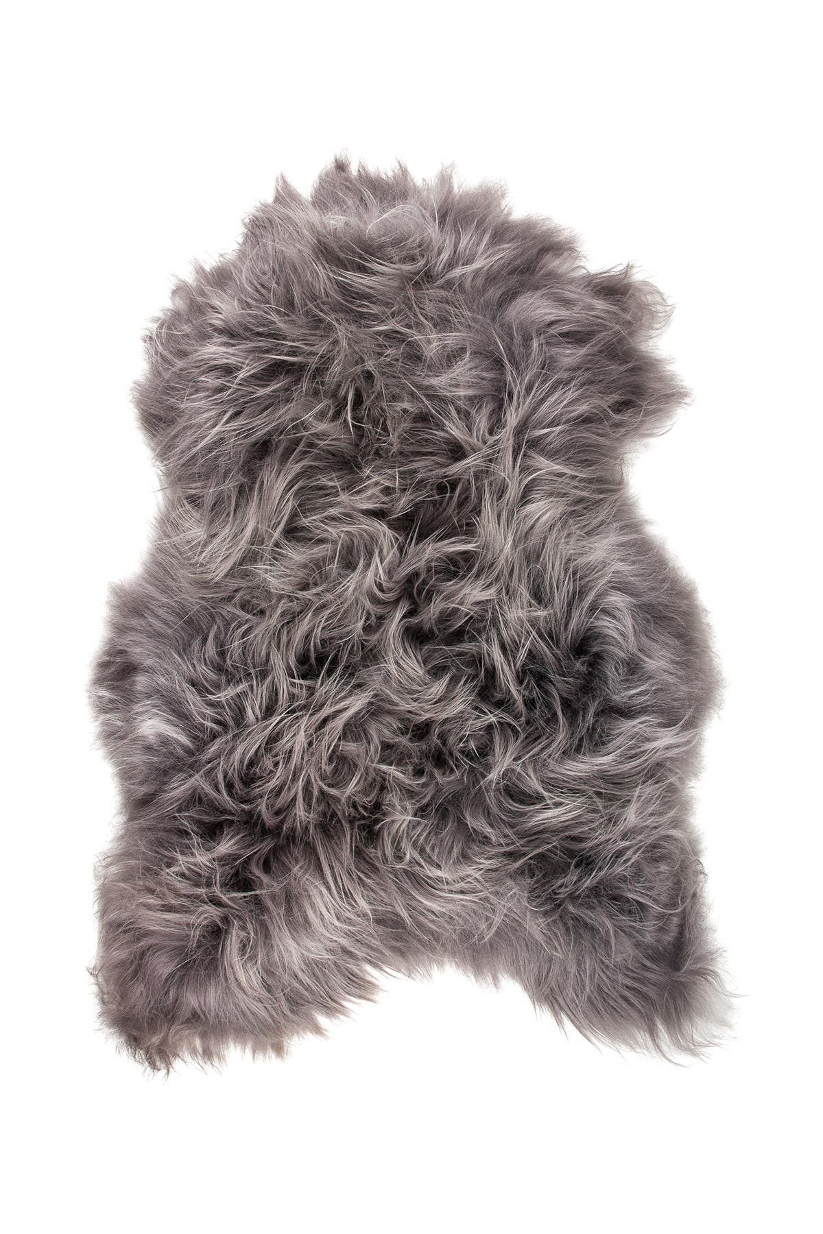 Image of Natural Icelandic Genuine Genuine Sheepskin Shearling Shearling Long-Haired Rug - 2ft x 3ft - Grey Brisa