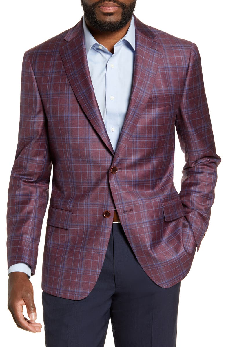 HART SCHAFFNER MARX Classic Fit Plaid Wool Sport Coat, Main, color, RED