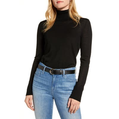 1901 Turtleneck Merino Wool Blend Sweater, Black