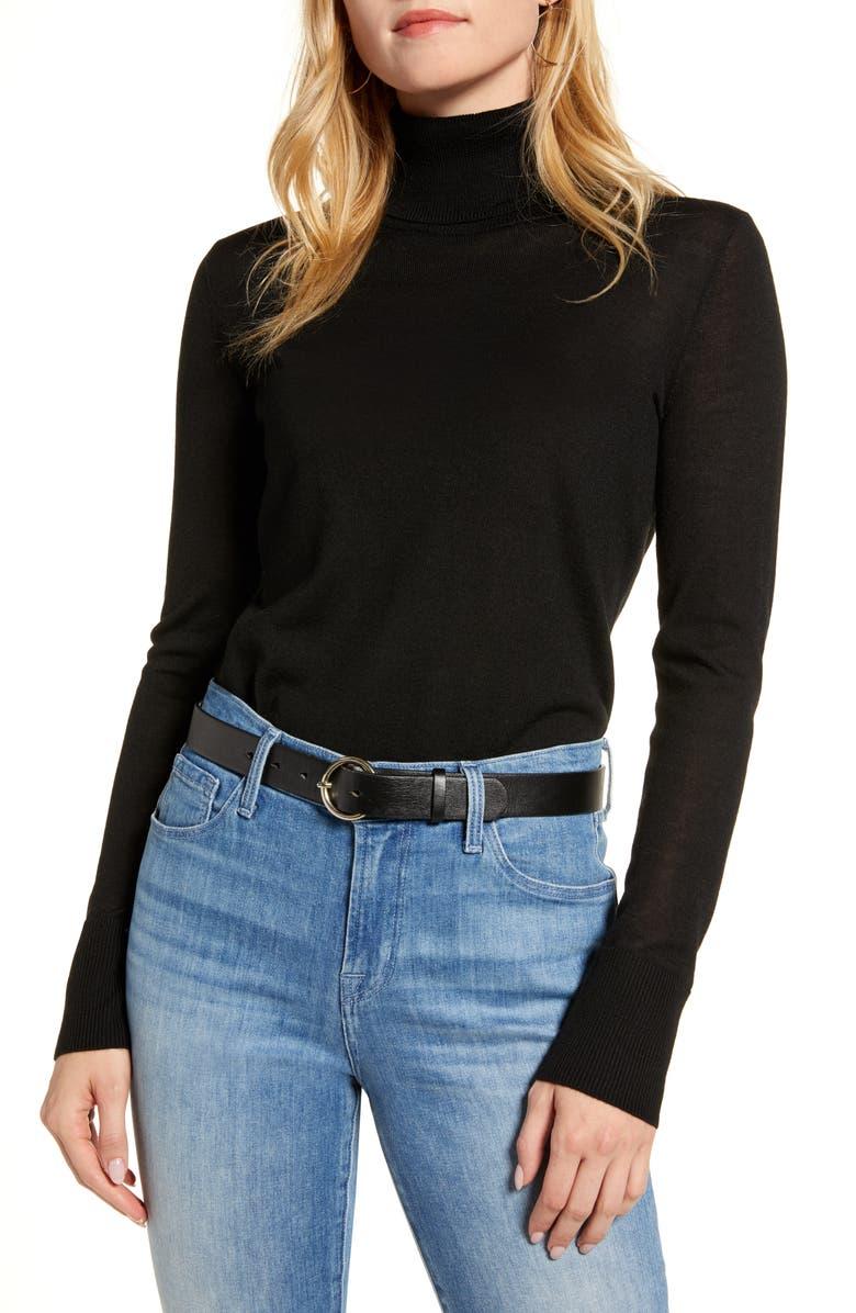 1901 Turtleneck Merino Wool Blend Sweater, Main, color, BLACK