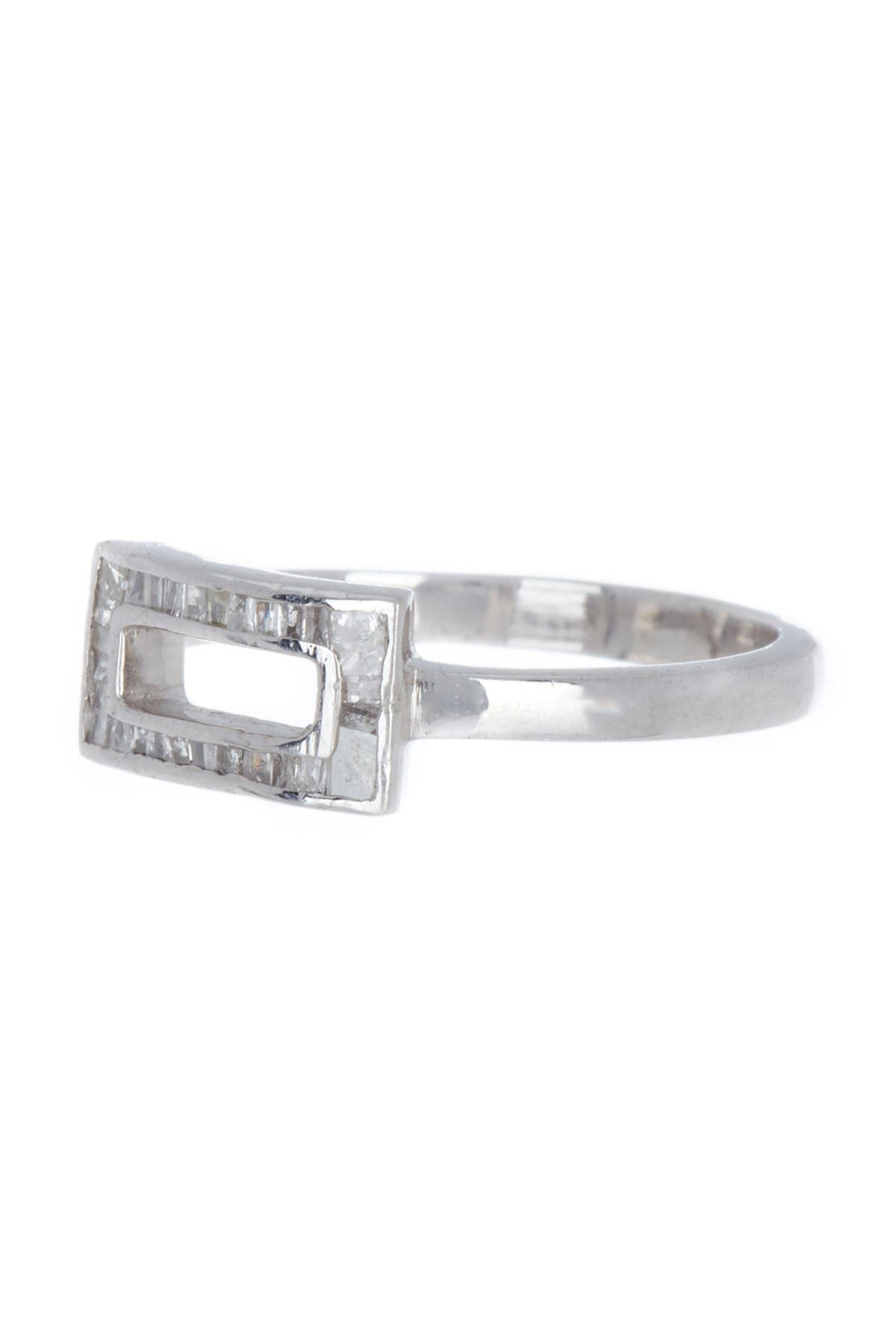 Image of Forever Creations USA Inc. Sterling Silver Diamond Open Rectangle Ring - 0.26 ctw