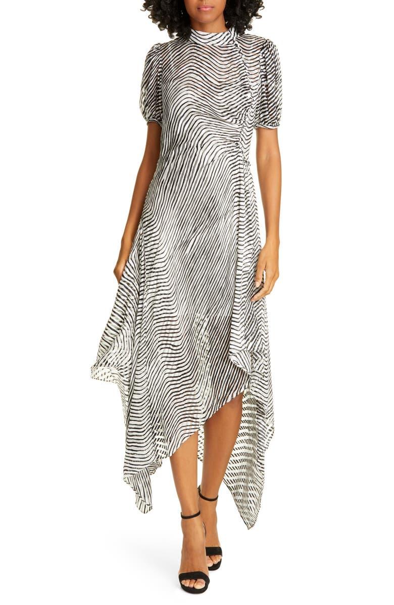 TANYA TAYLOR Jordyn Zebra Print Handkerchief Hem Dress, Main, color, ZEBRA - BLACK/ WHITE