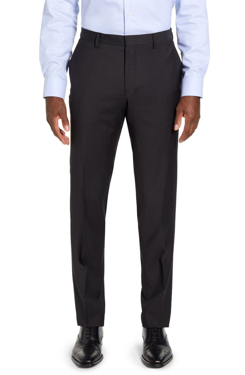 BOSS Genius Flat Front Dot Wool Trousers, Main, color, BLACK