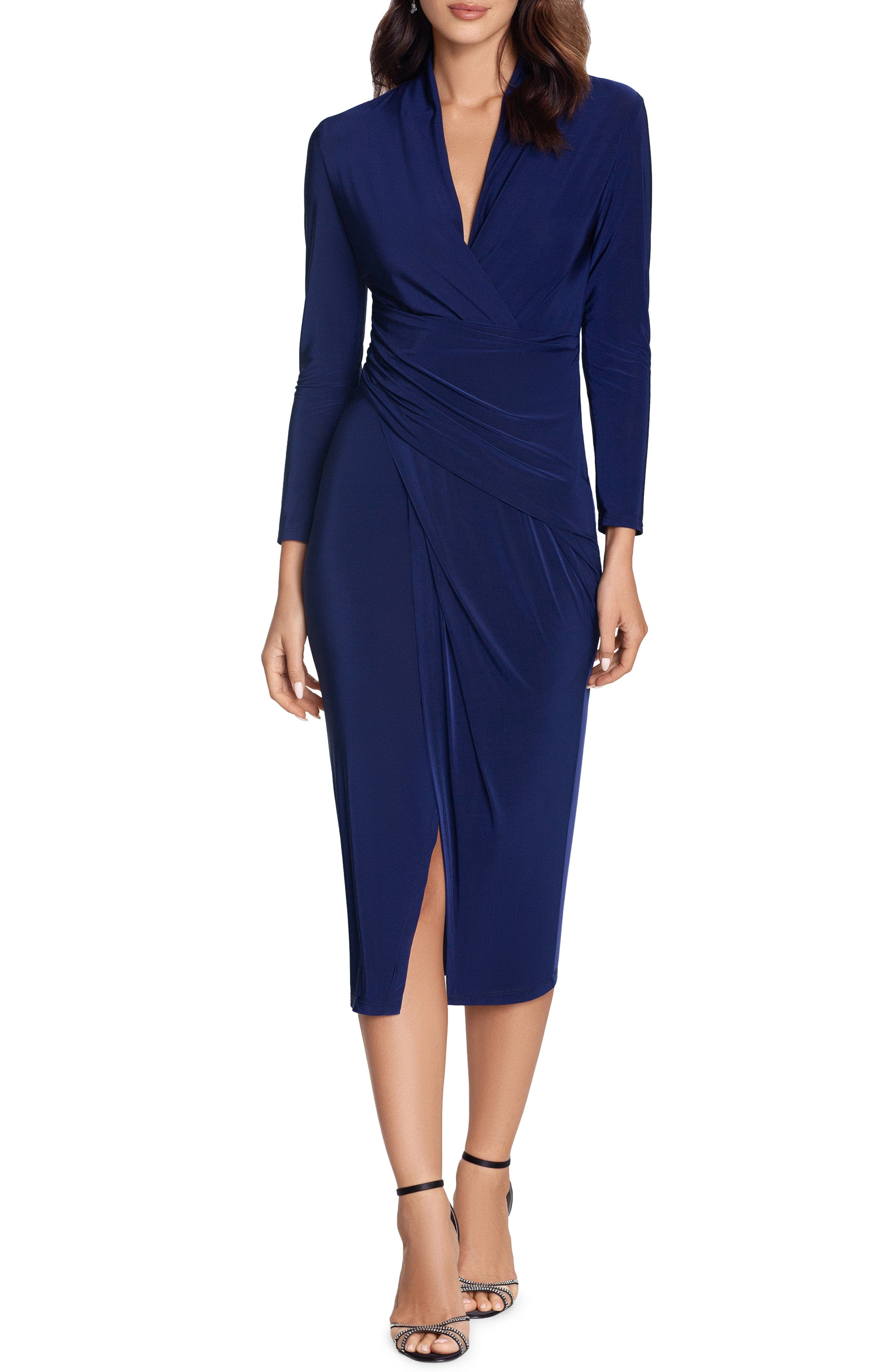 Wrap Detail Long Sleeve Jersey Midi Dress