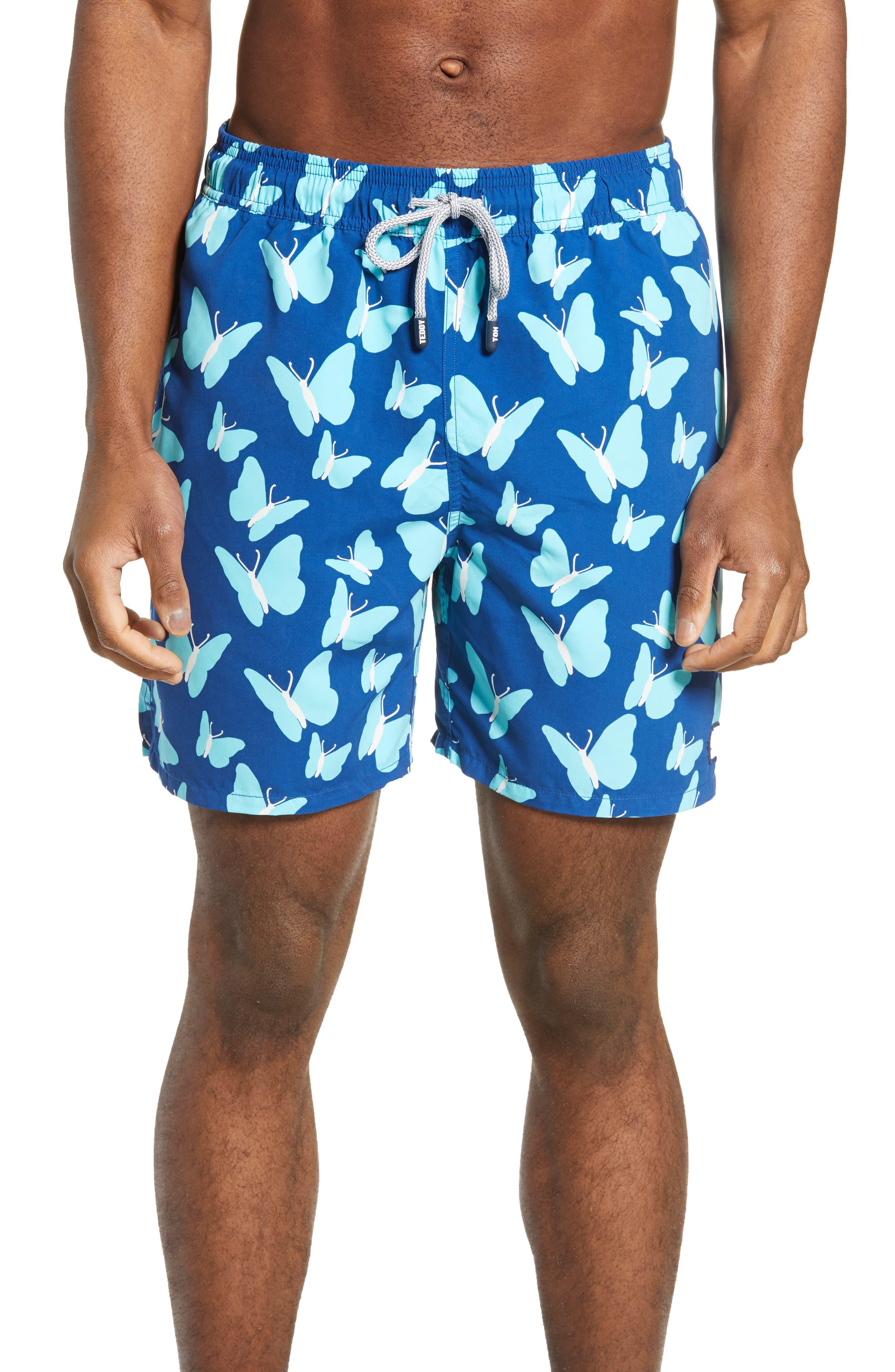 Tom & Teddy Butterfly Print Swim Trunks, Blue