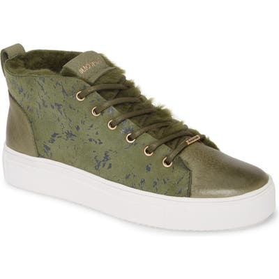 Blackstone Sl69 Genuine Shearling Lined High Top Sneaker, Green