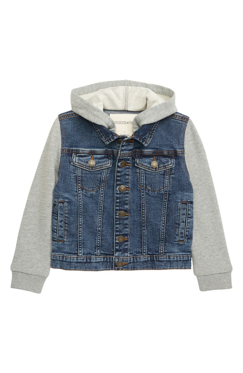 TUCKER + TATE Hooded Denim Jacket, Main, color, 450