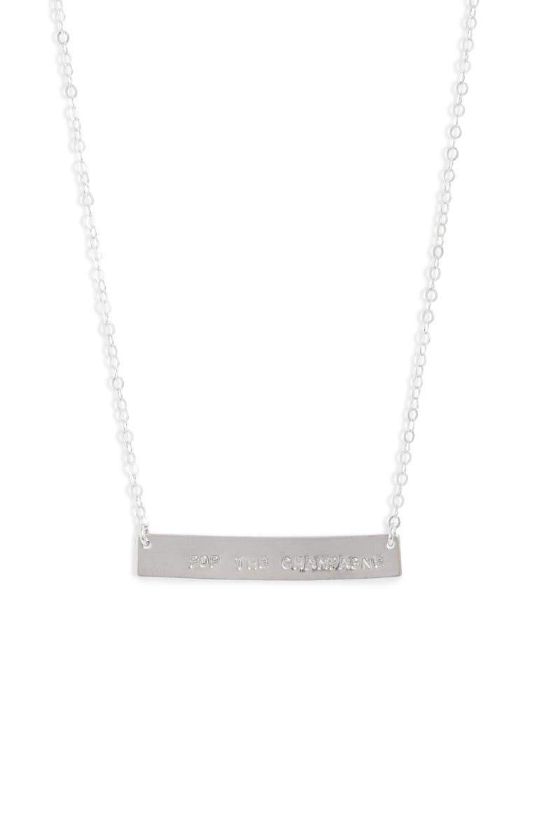 SET & STONES Cassie Pop The Champagne Bar Necklace, Main, color, SILVER