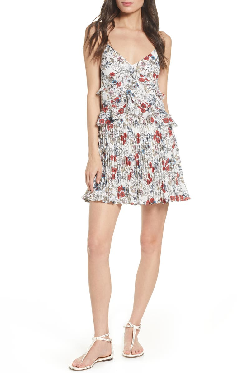 ALI & JAY Samo Floral Ruffle Pleated Minidress, Main, color, MULTI FLORAL