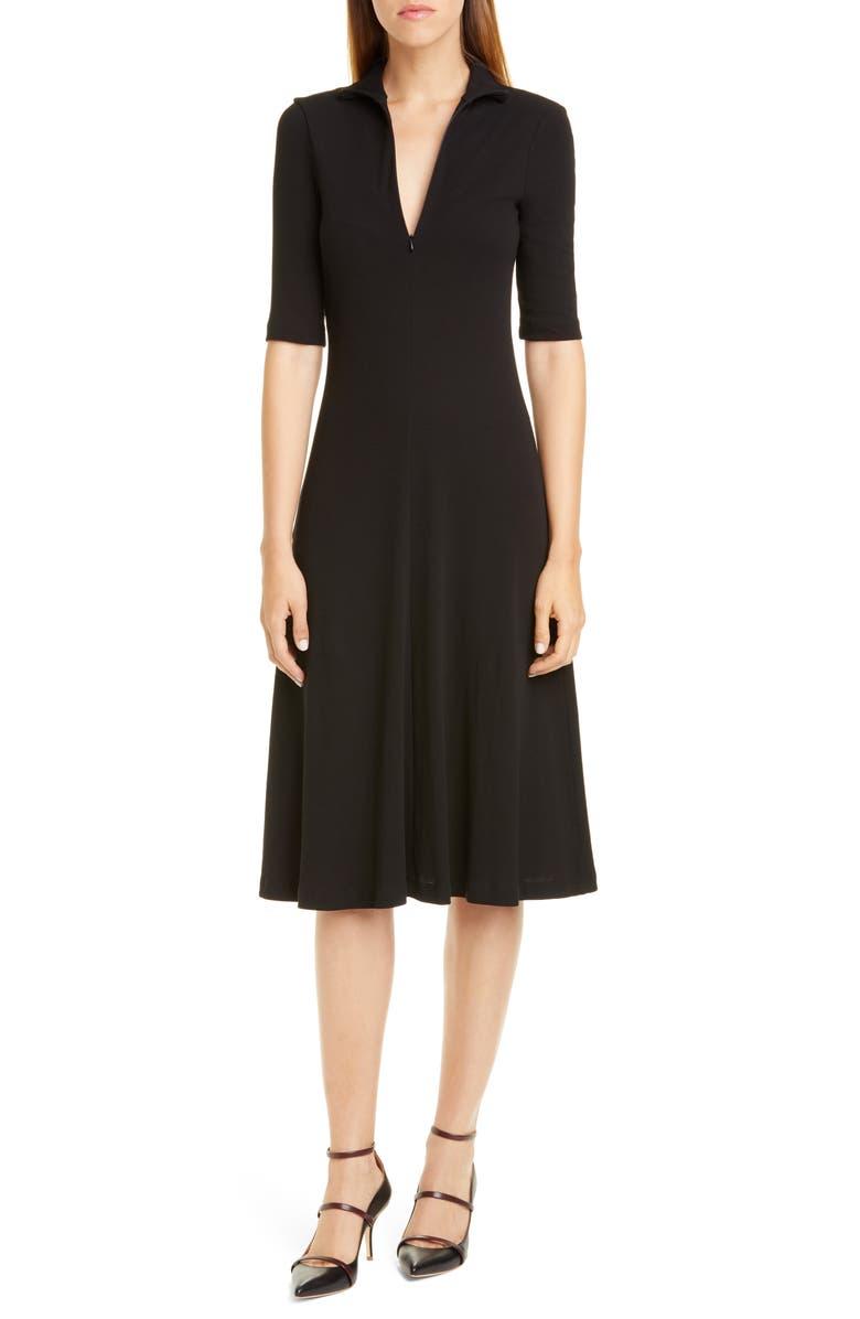 ROSETTA GETTY Rib Cotton Jersey Midi Dress, Main, color, BLACK