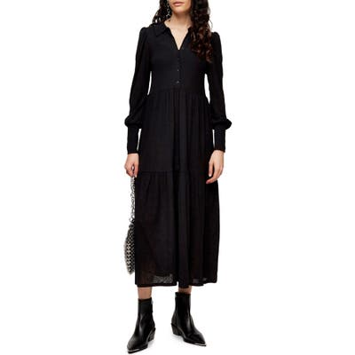 Topshop Cardigan Tiered Midi Dress, US (fits like 10-12) - Black