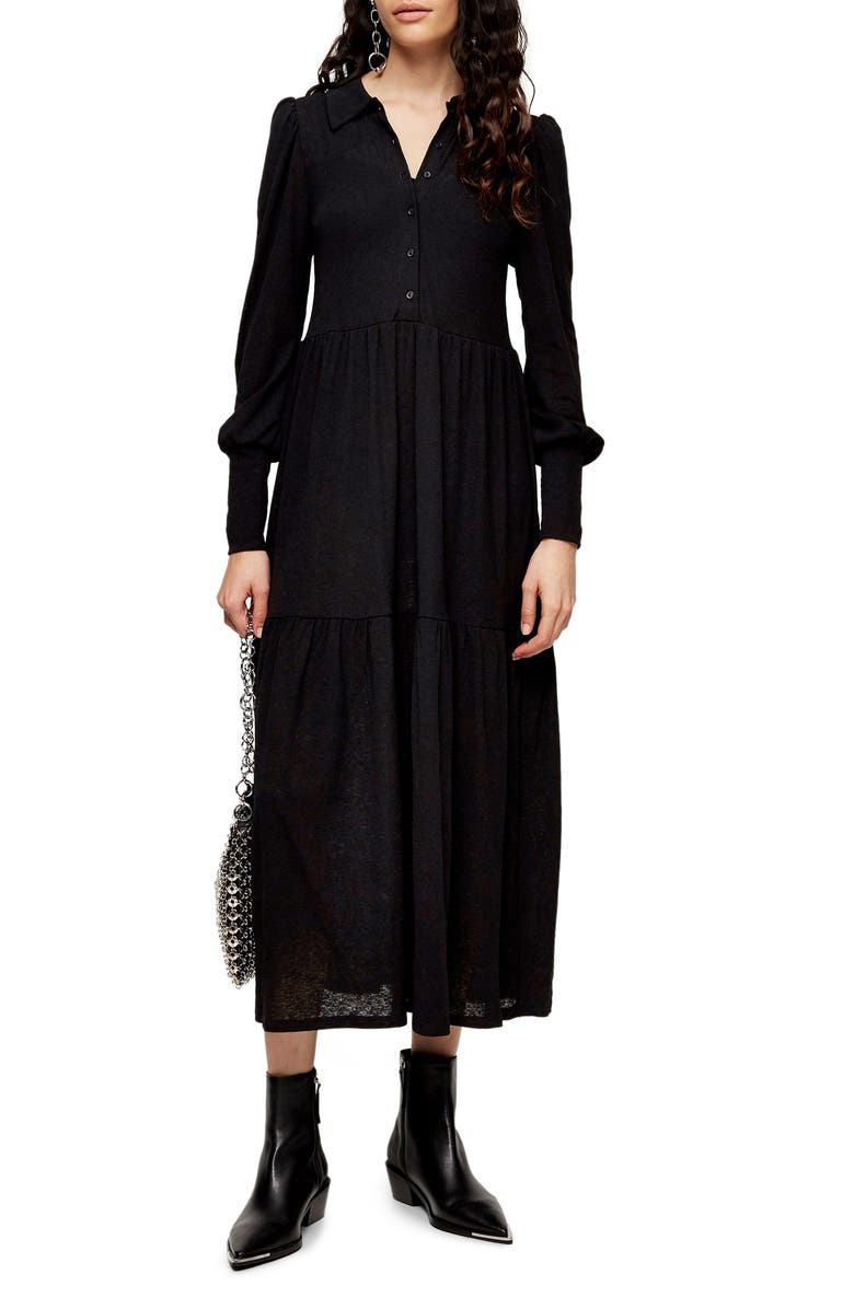 TOPSHOP Cardigan Tiered Midi Dress, Main, color, BLACK