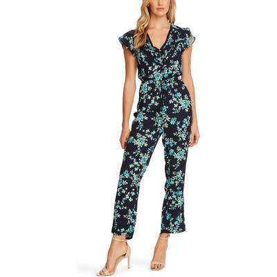 Cece Breezy Bouquet Flutter Sleeve Jumpsuit, Blue