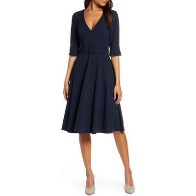 Petite Harper Rose Belted Fit & Flare Dress, Blue