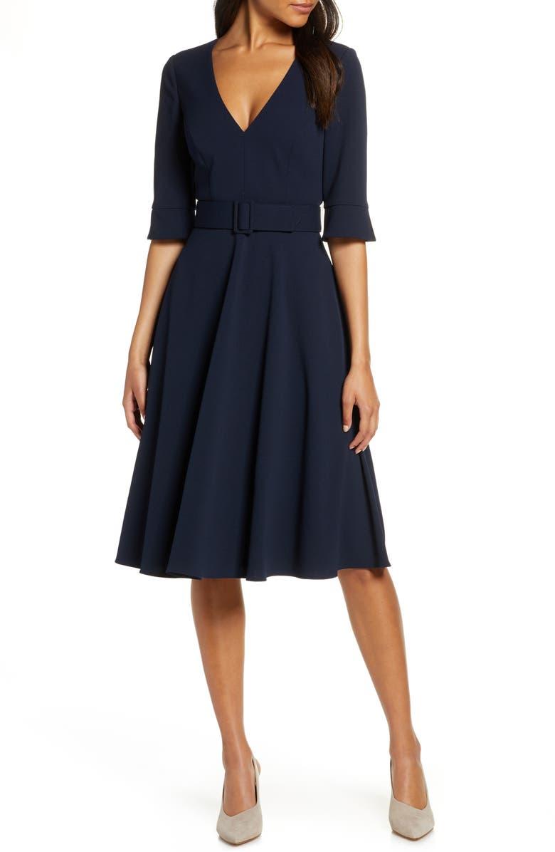 HARPER ROSE Belted Fit & Flare Dress, Main, color, NAVY