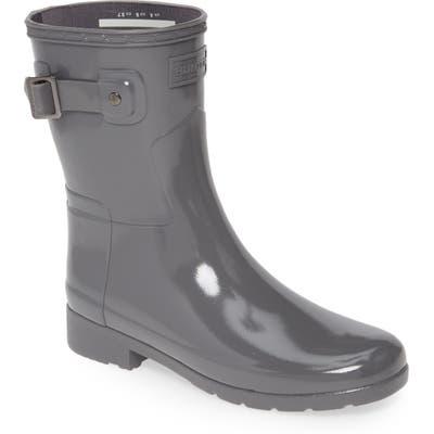 Hunter Refined Short Gloss Rain Boot, Grey
