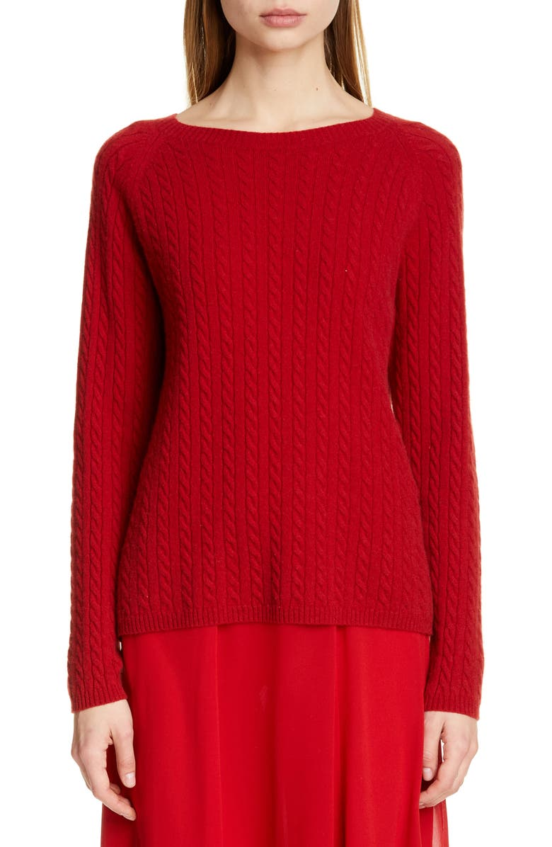 MAX MARA Fleur Cashmere Sweater, Main, color, RED