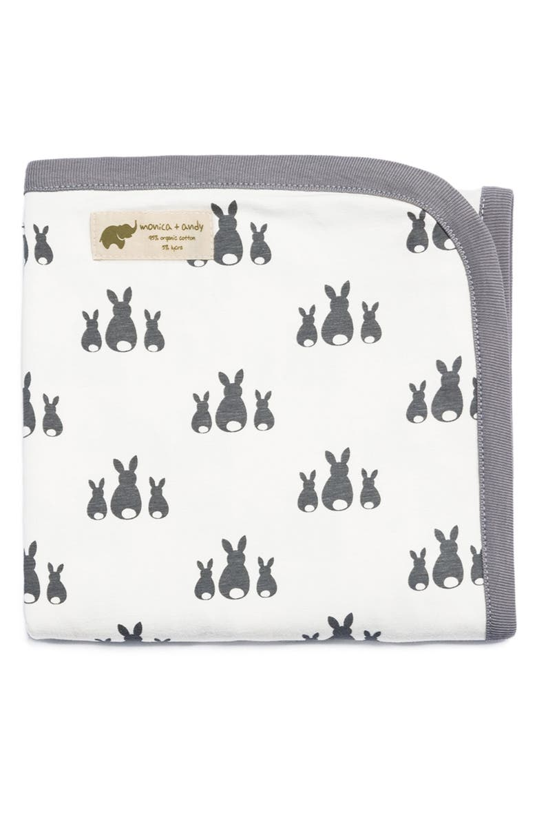 MONICA + ANDY Print Stretch Organic Cotton Blanket, Main, color, 020