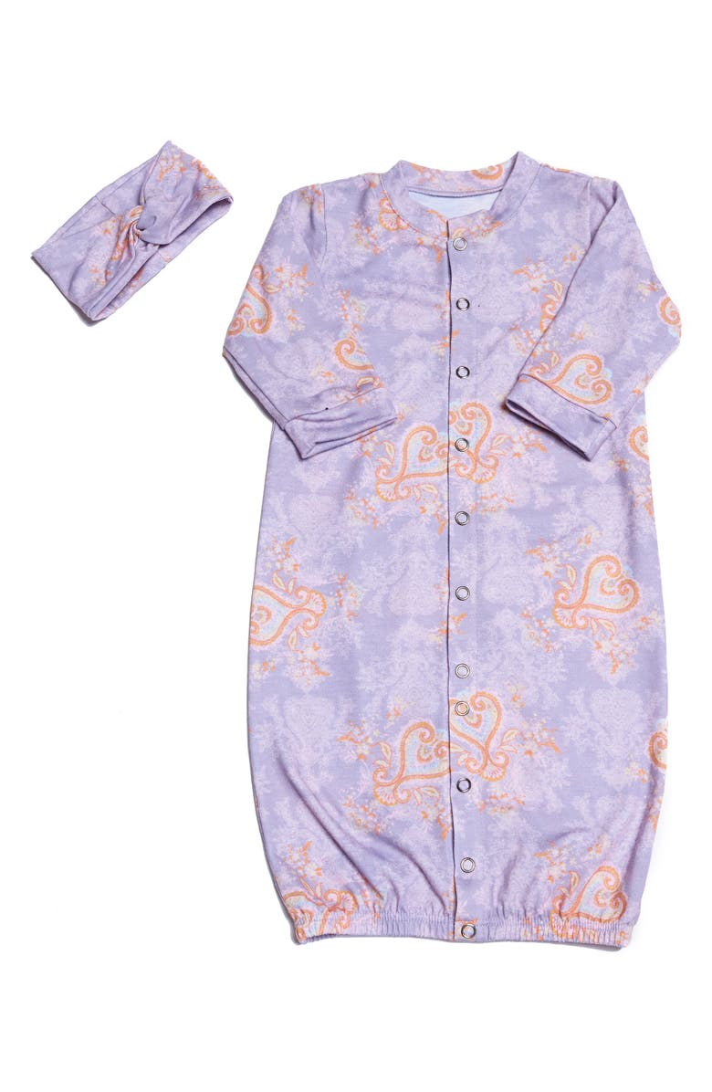 EVERLY BY BABY GREY Baby Grey Convertible Gown & Head Wrap Set, Main, color, BOHO