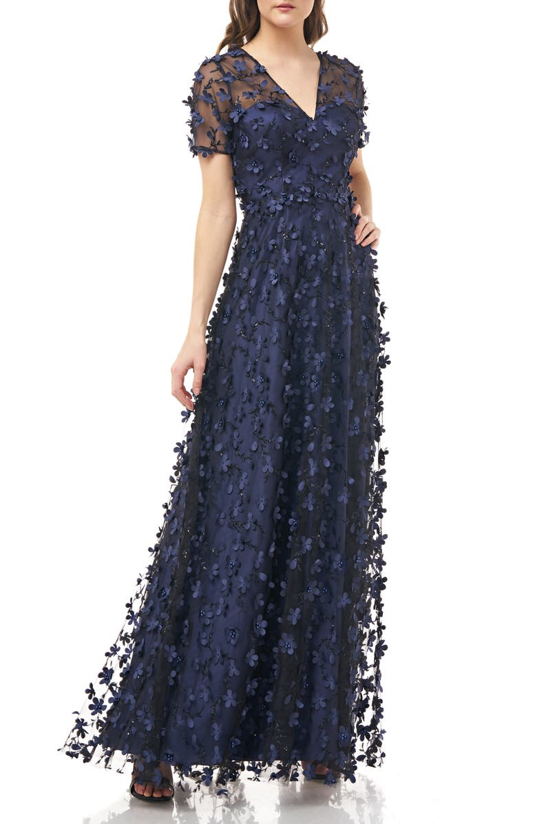 CARMEN MARC VALVO INFUSION 3D Novelty Gown, Main, color, NAVY