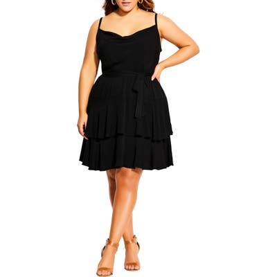 Plus Size City Chic Mini Frill Dress, Black