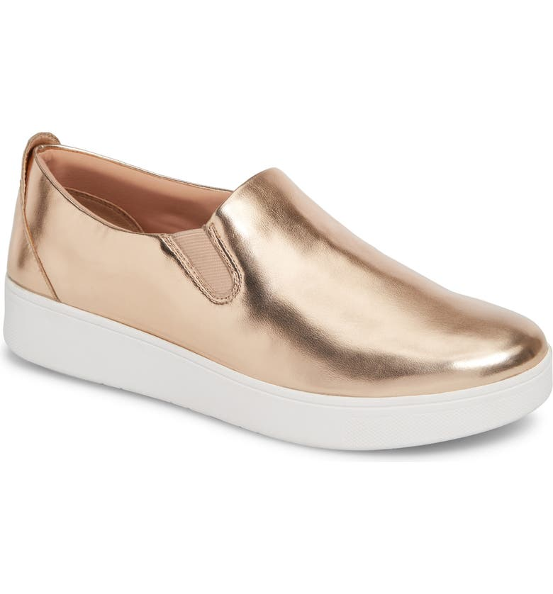 FITFLOP Sania Metallic Skates Slip-On Sneaker, Main, color, ROSE GOLD LEATHER