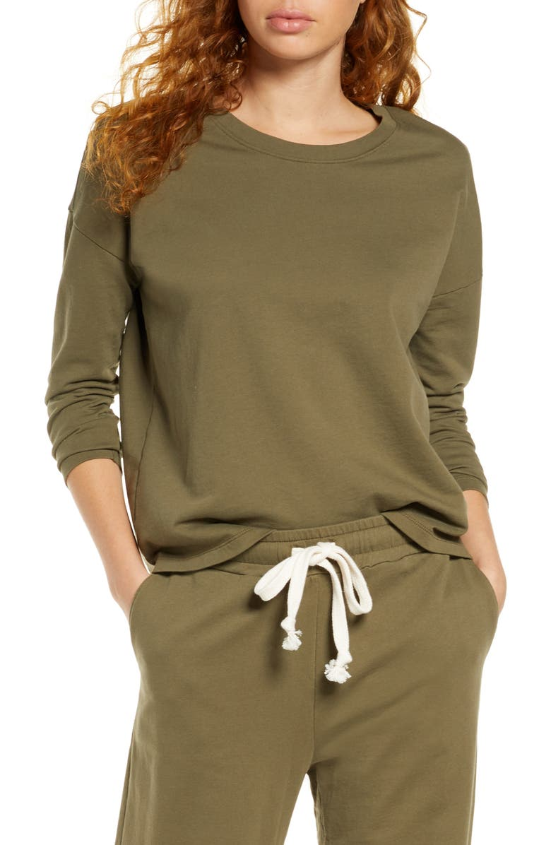 MADEWELL Pajama Sweatshirt, Main, color, FADED IVY
