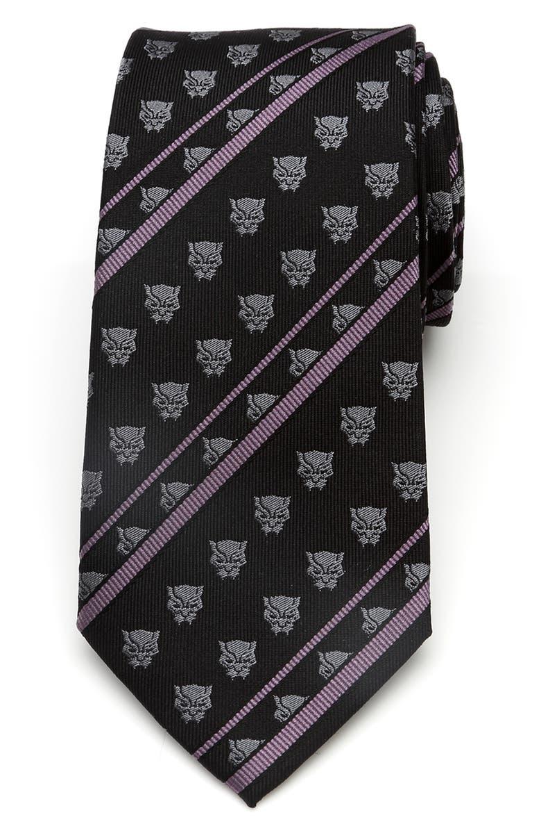 CUFFLINKS, INC. Black Panther Stripe Silk Tie, Main, color, BLACK