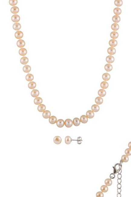 Image of Splendid Pearls Cultured Freshwater Dyed Pearl Necklace & Stud Earrings Set