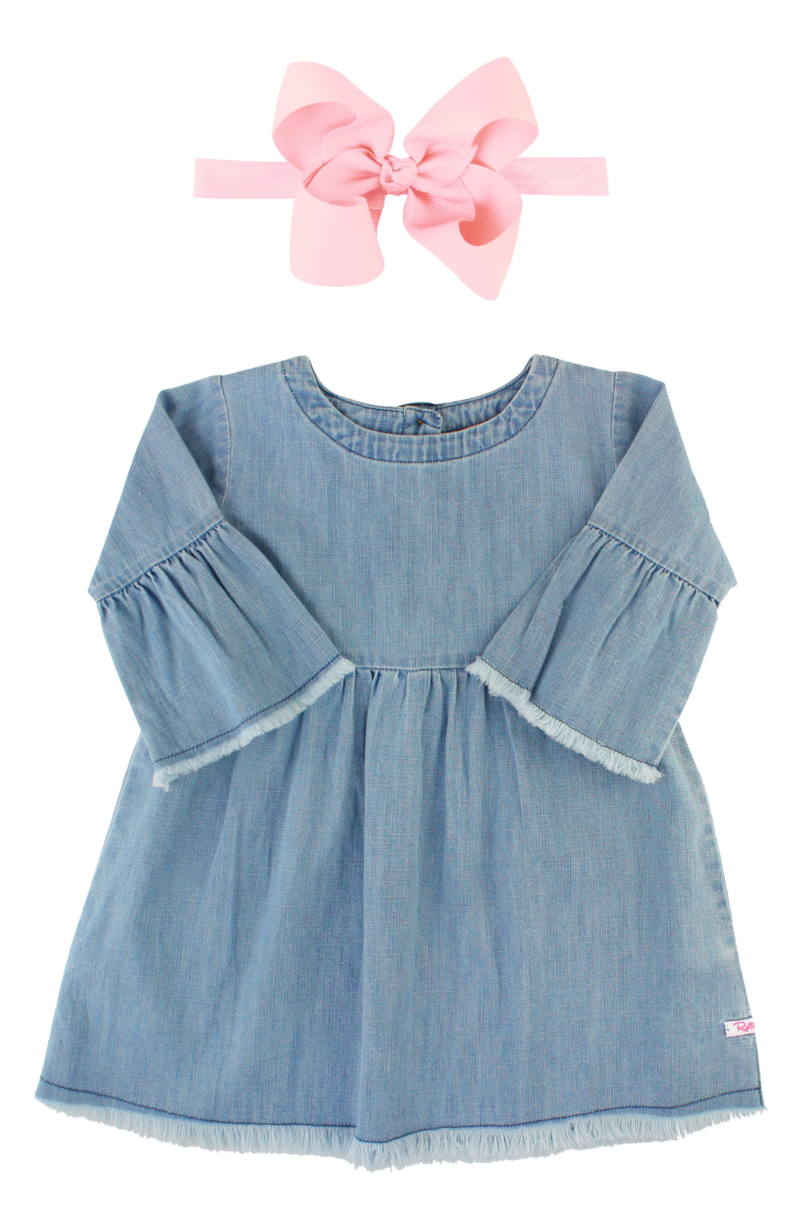 Fraying at the hem and flared cuffs add an on-trend deconstructed vibe to a sweet chambray dress paired with a too-cute grosgrain-bow headband. Style Name: Rufflebutts Chambray Dress & Bow Head Wrap Set (Baby). Style Number: 5828453. Available in stores.