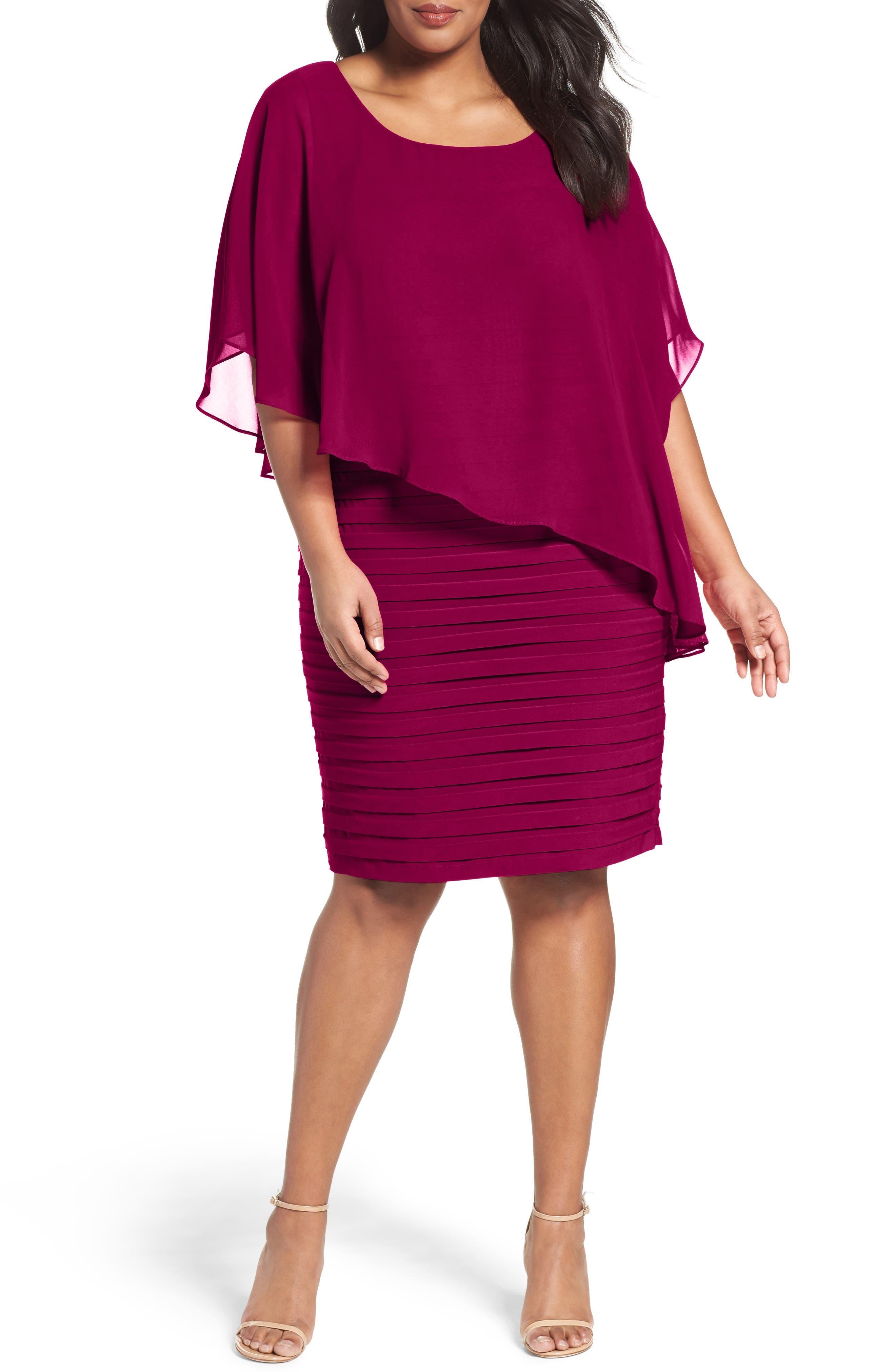Image of Adrianna Papell Chiffon Overlay Shutter Pleat Sheath Dress