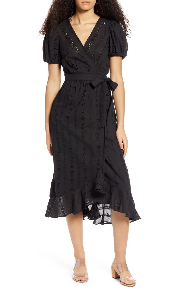 MOON RIVER Puff Sleeve Eyelet Wrap Dress, Main, color, BLACK