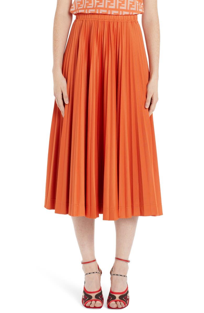 FENDI Pleated Jersey Midi Skirt, Main, color, KUMQUAT