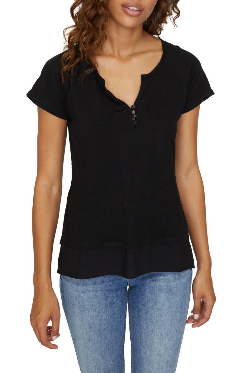 SANCTUARY Flirt Mix T-Shirt, Main, color, BLACK