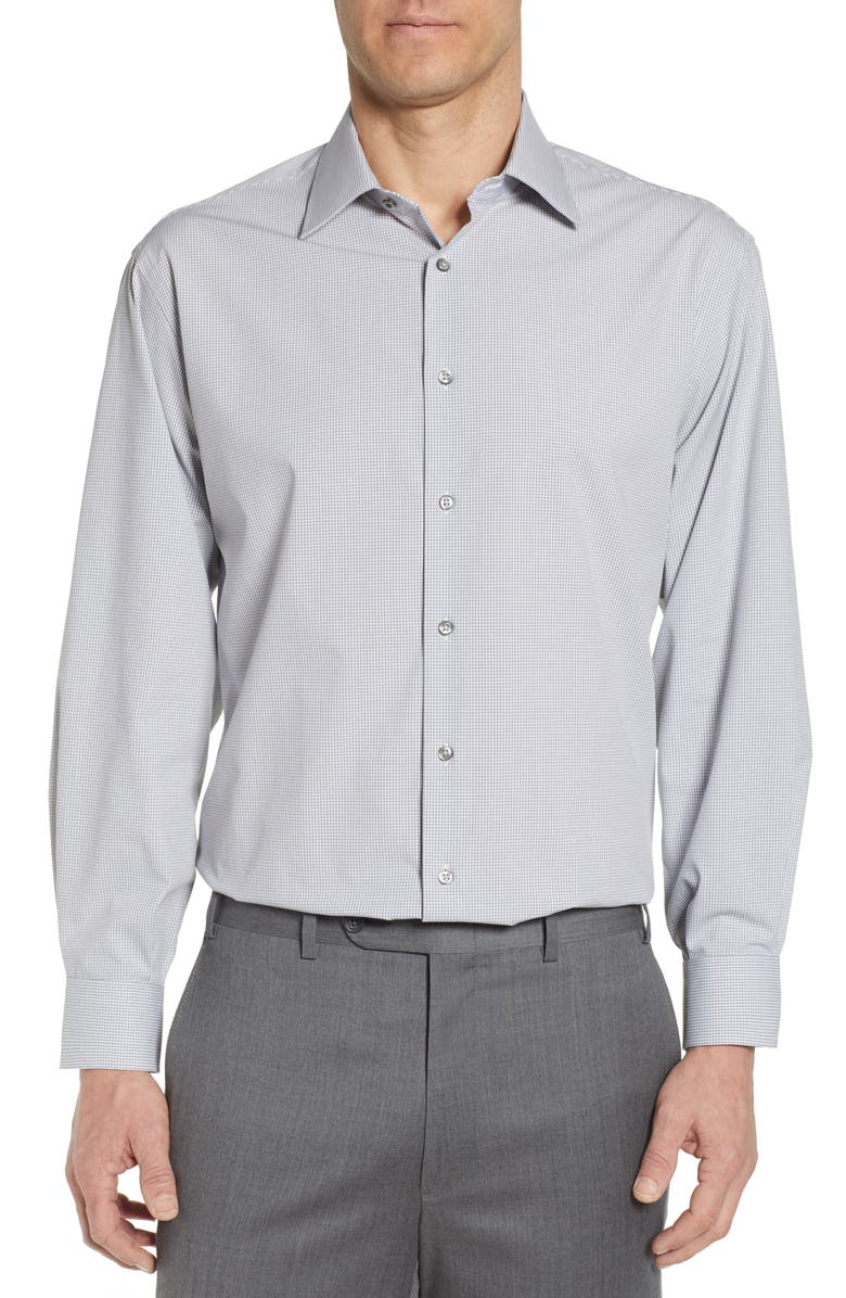 NORDSTROM MEN'S SHOP Tech-Smart Classic Fit Stretch Check Dress Shirt, Main, color, GREY SLEET