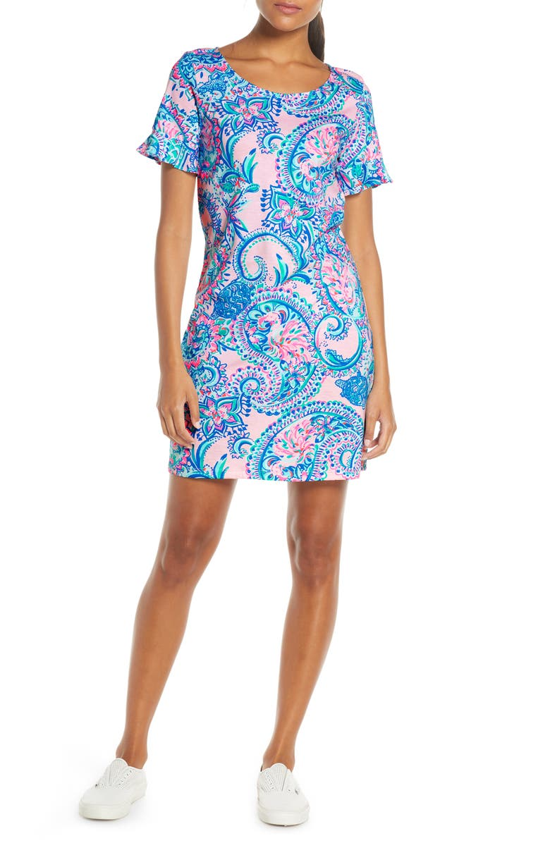 LILLY PULITZER<SUP>®</SUP> Mellorie Bow Back Shift Dress, Main, color, PINK TROPICS TINT TANGERINE