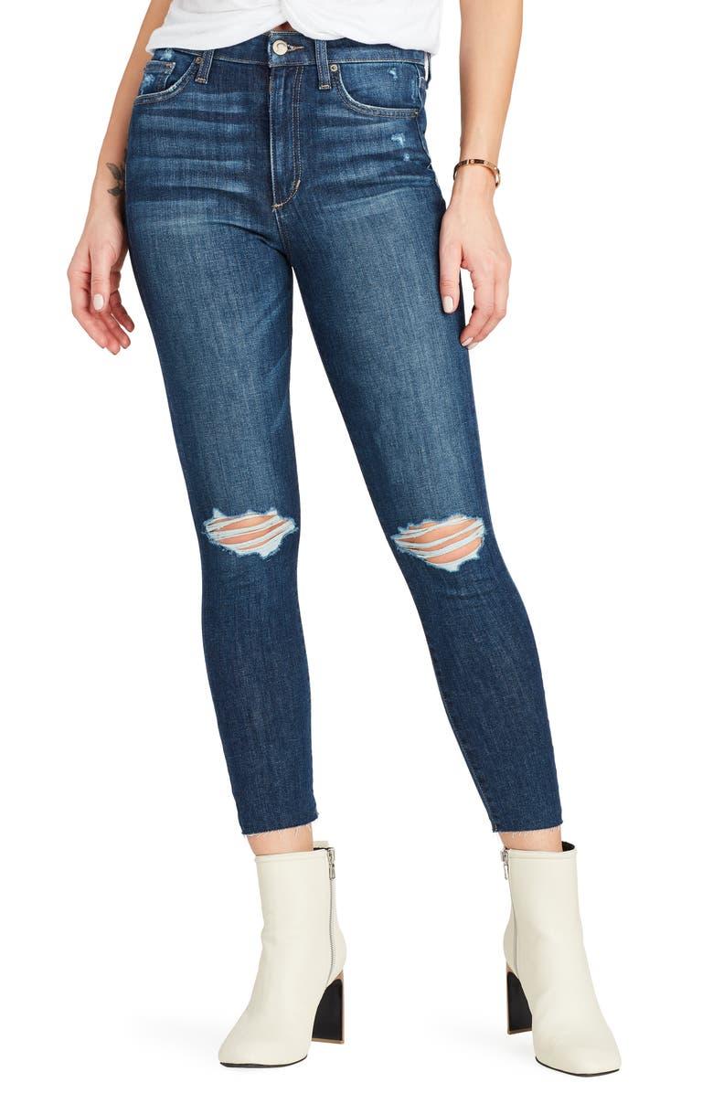 JOE'S Charlie High Waist Ripped Raw Crop Skinny Jeans, Main, color, 400