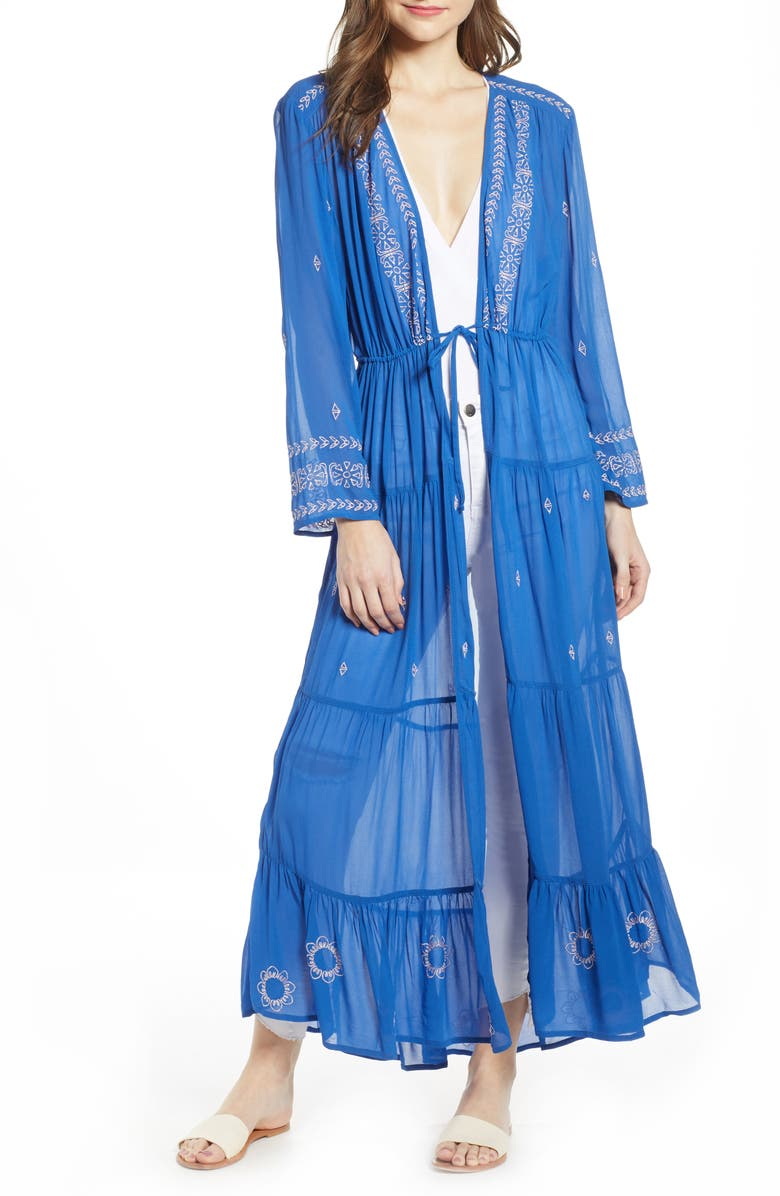 NEW FRIENDS COLONY Araya Embroidered Sheer Duster, Main, color, BLUE/ PINK COMBO