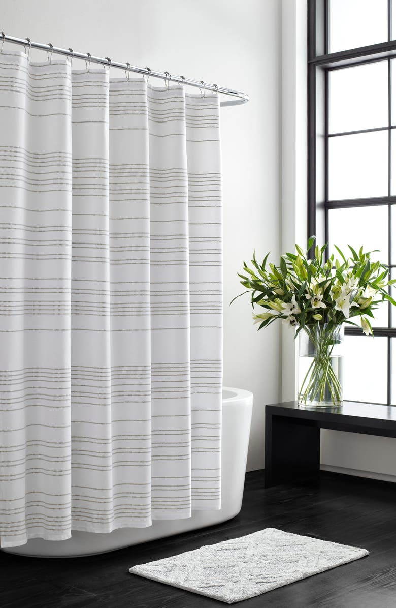 VERA WANG Embroidered Stripe Shower Curtain, Main, color, WHITE OAT