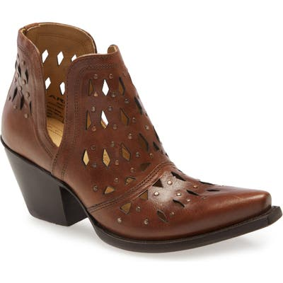 Ariat Dixon Perforated Studded Bootie- Brown