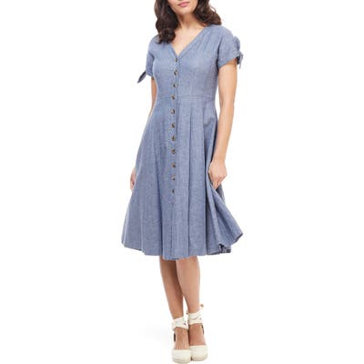 Gal Meets Glam Collection Lenna Button Front Linen Blend Fit & Flare Dress, Blue