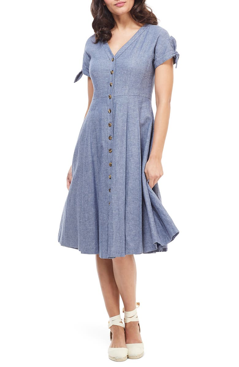 GAL MEETS GLAM COLLECTION Lenna Button Front Linen Blend Fit & Flare Dress, Main, color, CHAMBRAY