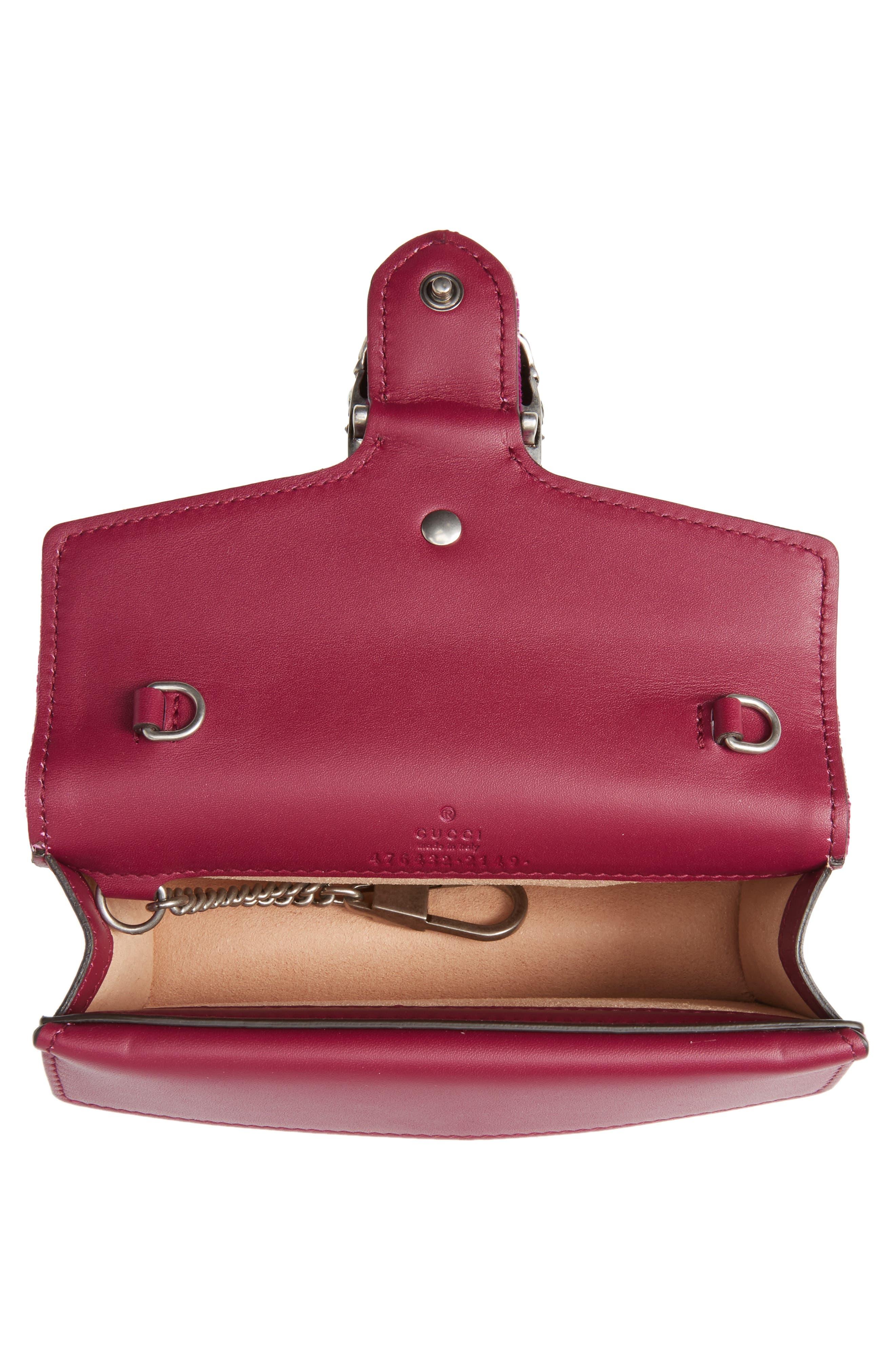 ,                             Super Mini Dionysus Velvet Shoulder Bag,                             Alternate thumbnail 16, color,                             560