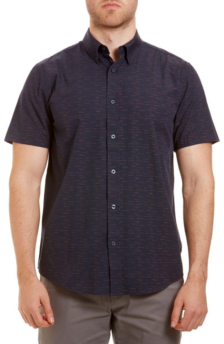 Ben Sherman Trim Fit Short Sleeve Button Up Sport Shirt